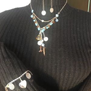 Combination Necklace, Bracelet and Earrings